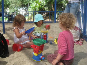 Playdate in a sandbox