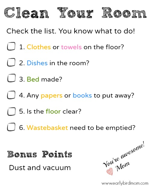 Printable Bedroom Cleaning Checklist for Kids