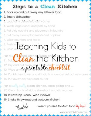 Printable kitchen cleaning checklist for kids for Steps to building a house checklist