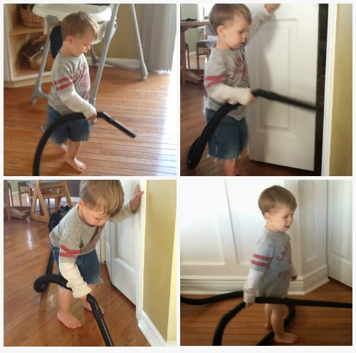My youngest is an enthusiastic vacuumer.  No chore wars here!