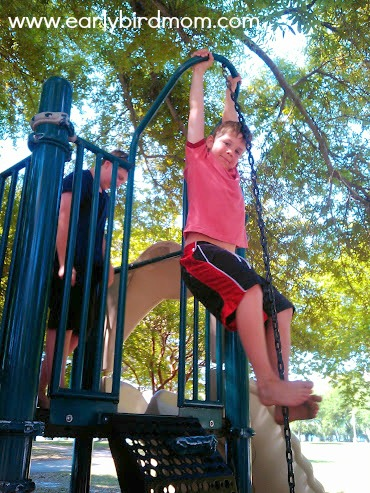 Boys love climbing