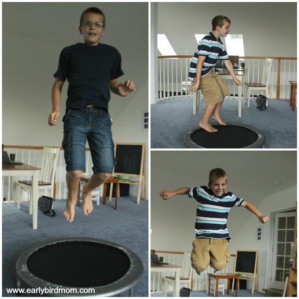 Homeschool room trampoline