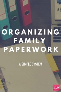 organizing paperwork at home