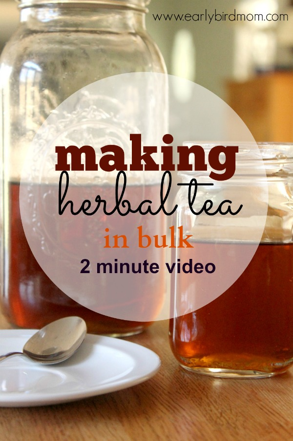 With this easy method (and 2 minute video tutorial), it takes about a minute of hands-on time to make a gallon or more of herbal tea using loose tea leaves. Plus, there's no need to strain the finished tea.