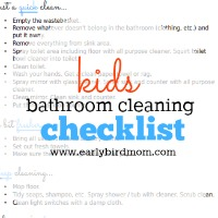 Kids Printable Bathroom Cleaning Checklist