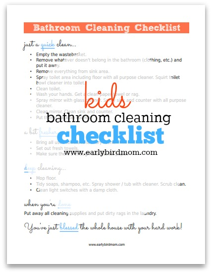 graphic relating to Cleaning Supplies List Printable named Children Printable Rest room Cleansing Record