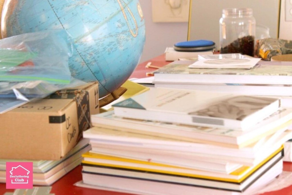 decluttering rules help with piles of school supplies