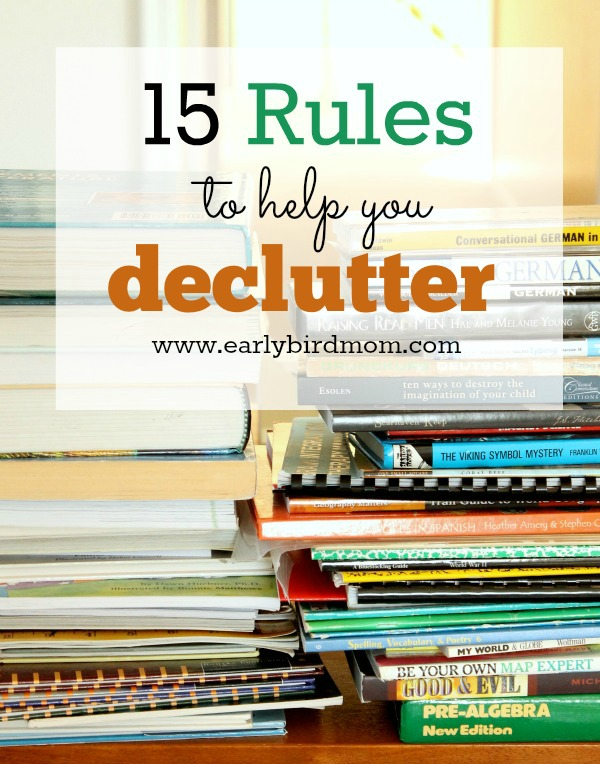 Are you dealing with a lot of clutter? These 15 rules can help you make decisions about what to keep and what to declutter. Clutter makes me crazy and my family (and I - gulp) create a whole lot of it. These rules help me rein things in and regain peace again.