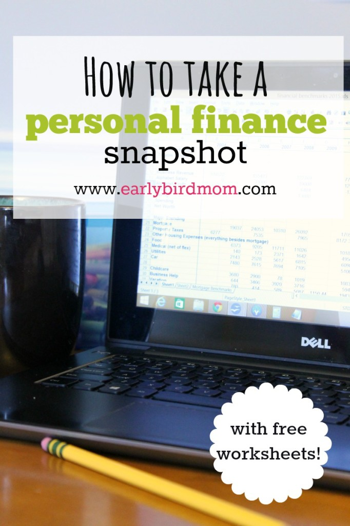 Do you have a big picture view of how much money you earned and spent last year? Taking a personal finance snapshot will give you just that. See this post for instructions and free worksheets.