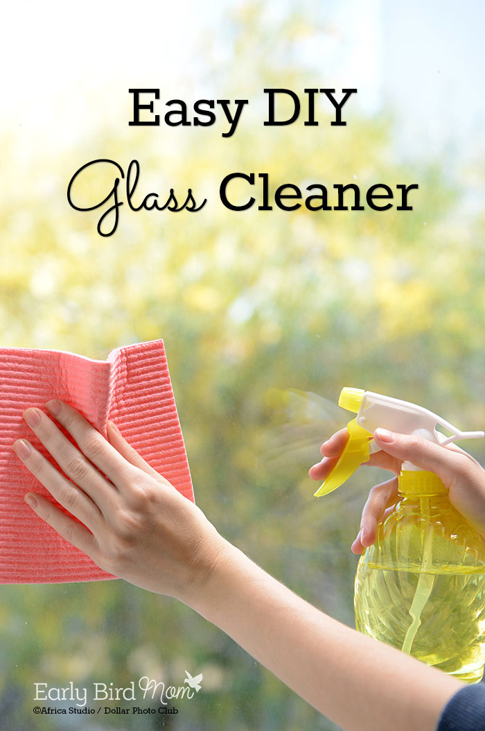 An easy recipe for homemade glass cleaner (great for windows and mirrors!). No smelly vinegar or ammonia or messy cornstarch is required.