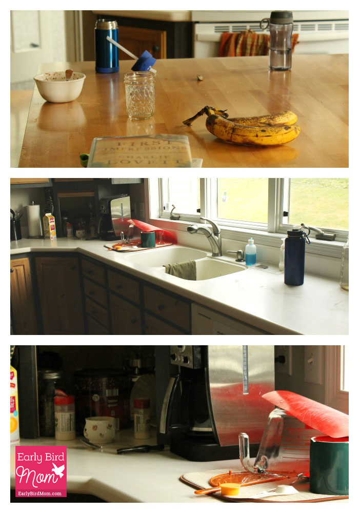 Kitchen counters are a clutter magnet! Here's how I clear mine off every day (with before and after pictures).