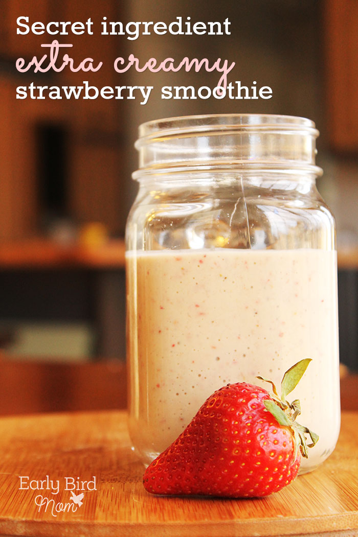 Shh - don't tell! Take your healthy breakfast recipe from so-so to scrumptious! This extra creamy strawberry smoothie recipe features yogurt, strawberries, plus a secret ingredient. This quick breakfast idea whips up in just seconds and takes like a real treat.