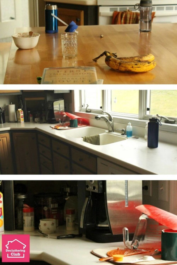 the messy kitchen counters before