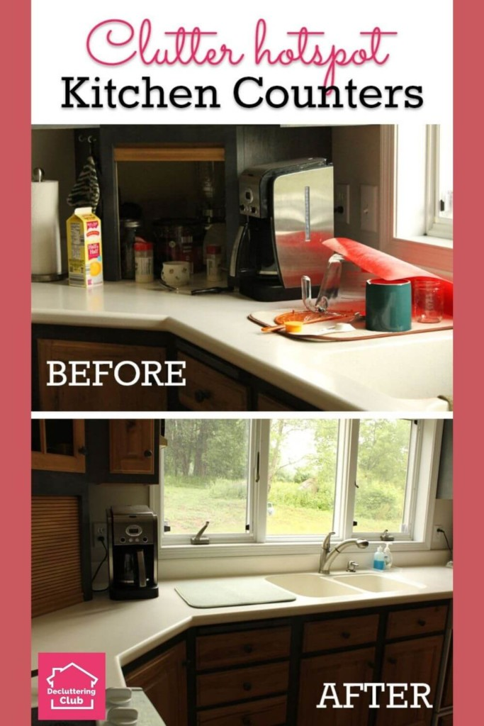 Before and after kitchen counter clutter!