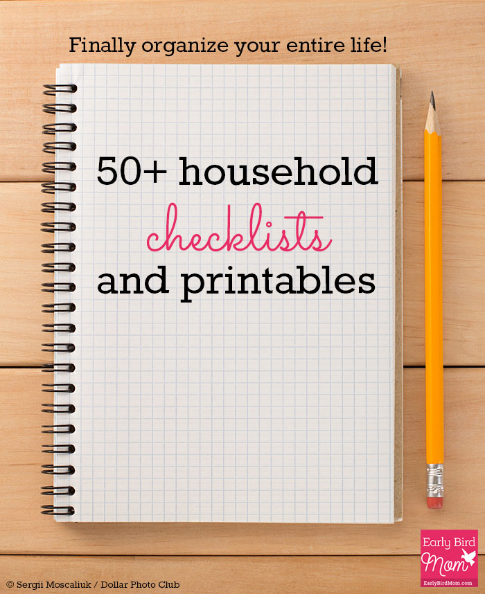 Organize your life with these 50+ household checklists and printables, most of them free! Includes printables for cleaning, budgeting, travel, kids and more.