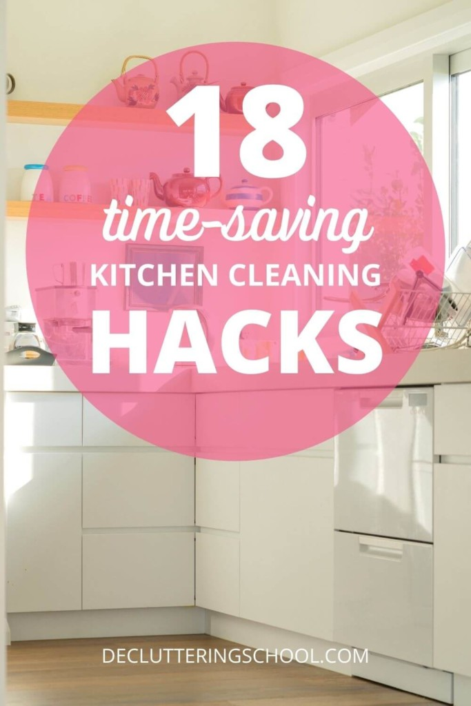 Looking for tips to save you time in the kitchen? This list of 18 easy cleaning hacks can save you hours every month!