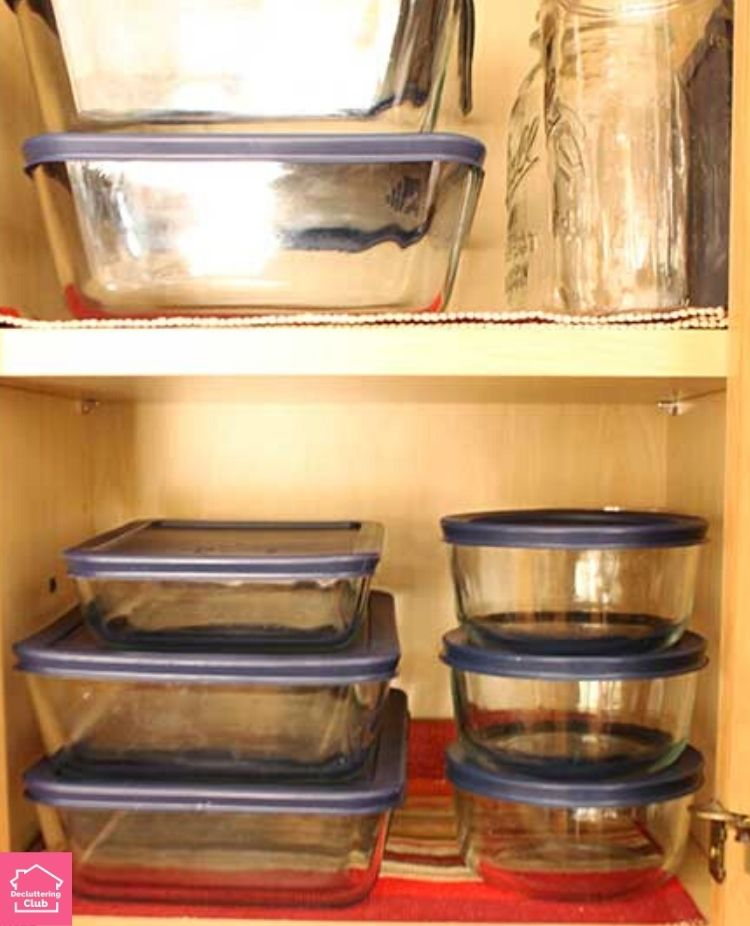 organized kitchen glass containers stacked