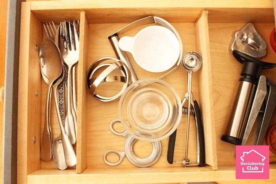 organized kitchen inside drawers