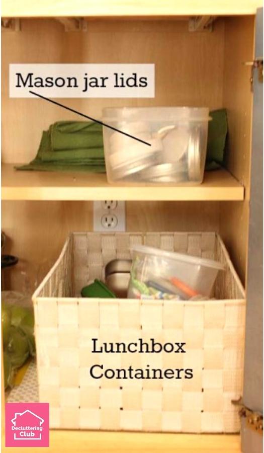 organized kitchen using bins
