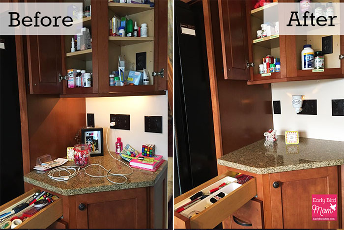 how to declutter projects at home with before and after