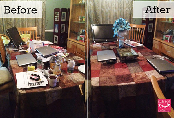 before and after decluttering project on kitchen table