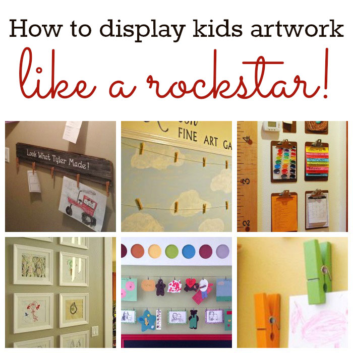 Enjoy your kids art with these 11 fun and easy DIY artwork display ideas. Use them in a playroom or family room with art and other school papers. Love it!