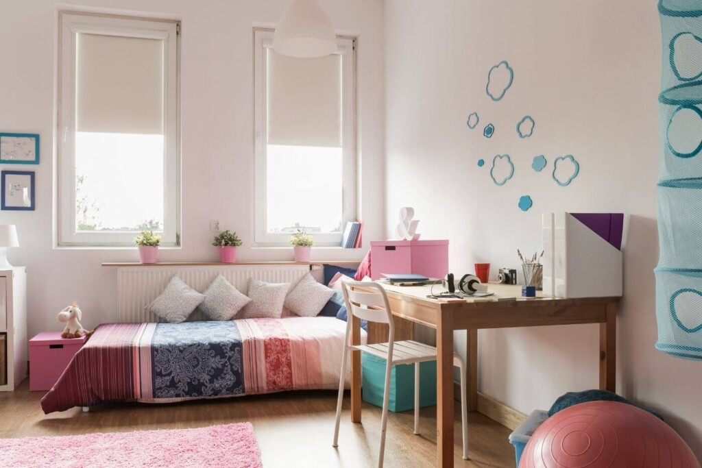 decluttered neat and tidy teen bedroom