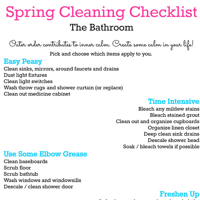Printable Spring Cleaning Checklist: The Bathroom