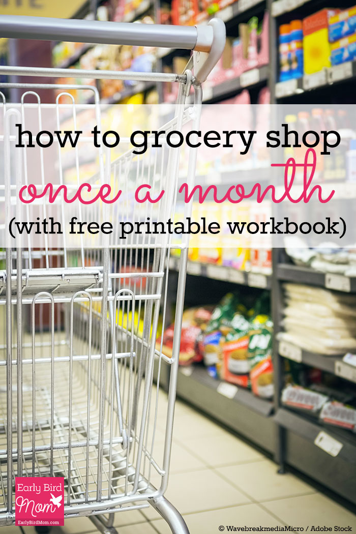 Save plenty of time and money when you grocery shop once a month. Free printable workbook gives you tips and advice on this easy way of grocery shopping. Great for large families and working moms!