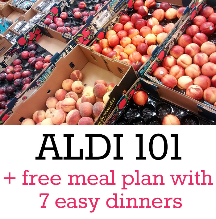 Have you ever shopped at ALDI? Get started with a free printable meal plan for 7 easy dinners, plus get the most important tips you need to know before shopping at ALDI.