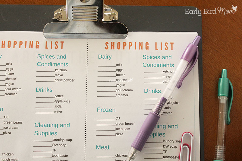 Save money on groceries using a simple meal planner.