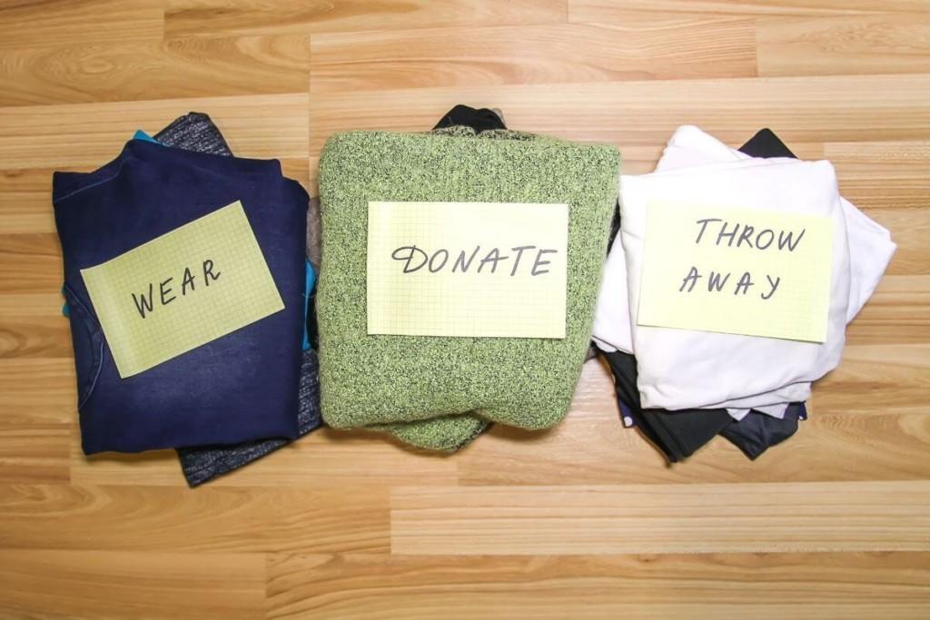 keep donate throw away piles