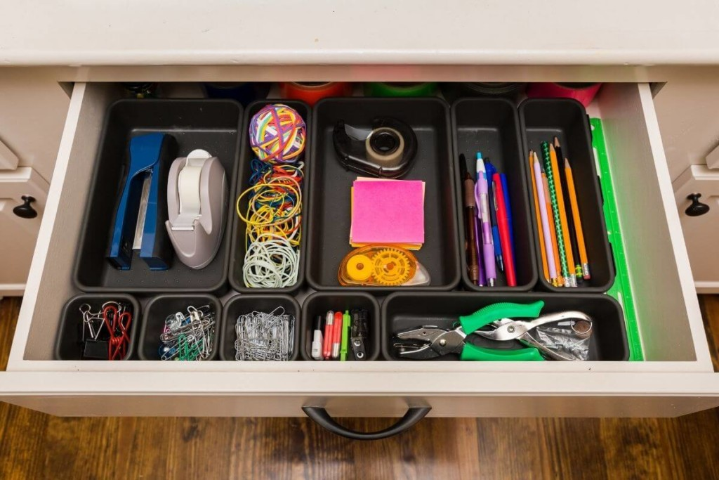 organized drawer using containers