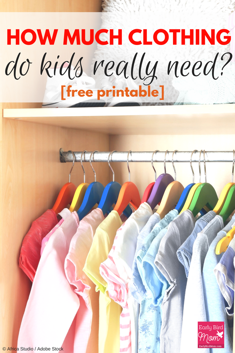 How much clothing do kids really need? If you're decluttering kids closets and need some tips or a printable chart for guidelines, this will help.