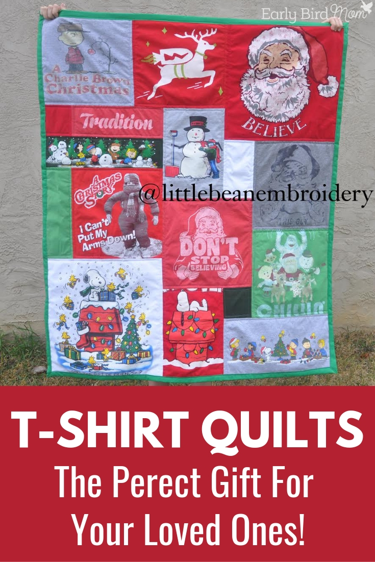 T-Shirt Quilts can make such a memorable gift for loved ones, or to cherish yourself. Making a quilt out of old shirts is unique, and no two will be alike. #tshirtquilt #makingaquiltoutofshirts #EarlyBirdMom