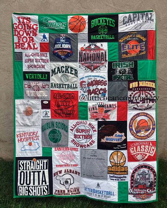 t-shirt quilt in a sports theme