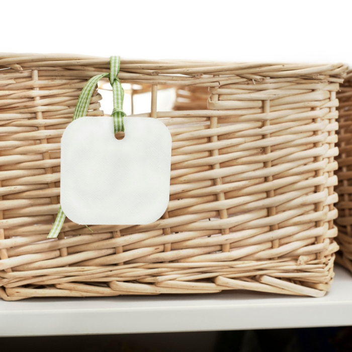 wicker basket with label