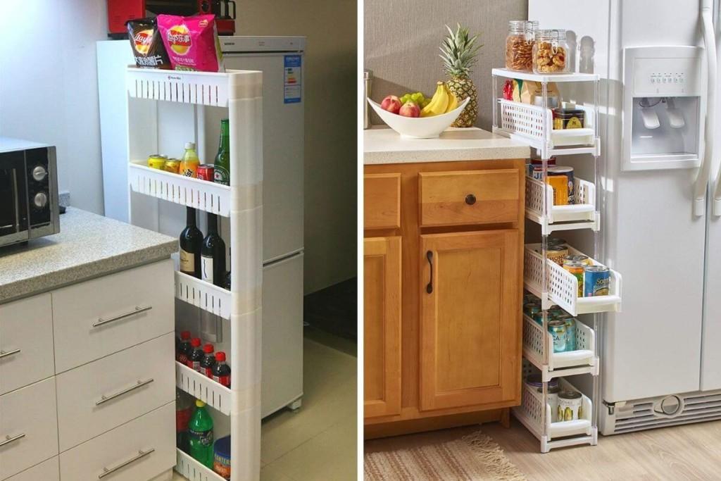 narrow slide out pantry shelves