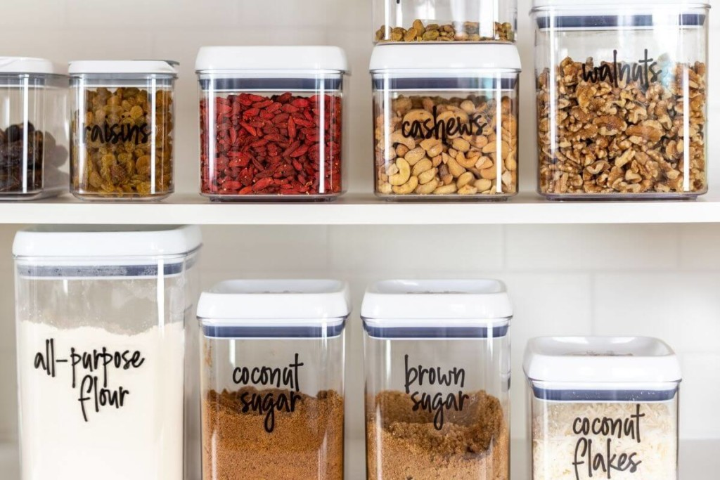 organized kitchen containers that stack